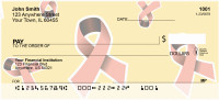 Pink Ribbon Background Personal Checks | GCA-63