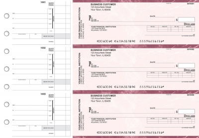 Burgundy Marble Invoice Business Checks | BU3-BMA01-INV