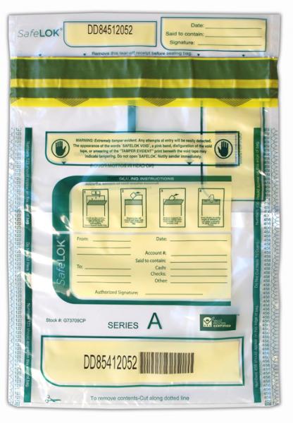 Deposit Bag 9'' X 12'' SafeLok, clear w/pocket