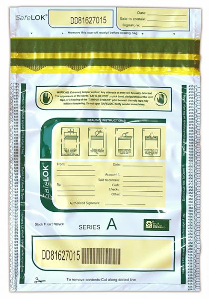 Deposit Bag 9'' X 12'' SafeLok, white w/pocket
