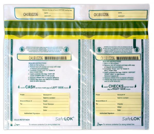 Deposit Bag 13.5'' X 10'' SafeLok, horizontal twin
