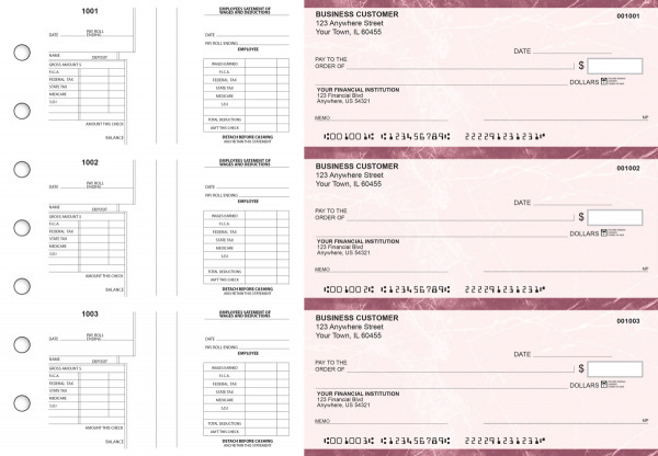 Burgundy Marble Multi-Purpose Salary Voucher Business Checks | BU3-7BMA01-MPS