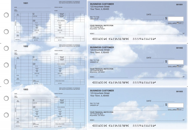 Clouds Multi-Purpose Hourly Voucher Business Checks | BU3-7CDS21-MPH