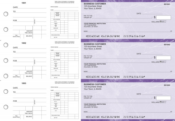 Purple Marble Dual Purpose Voucher Business Checks | BU3-7UMA01-DPV