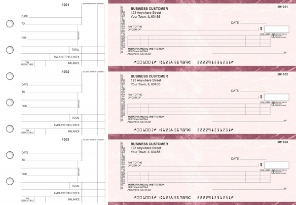 Burgundy Marble Itemized Counter Signature Business Checks