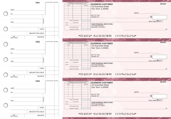 Burgundy Marble Standard Itemized Invoice Business Checks | BU3-BMA01-SII