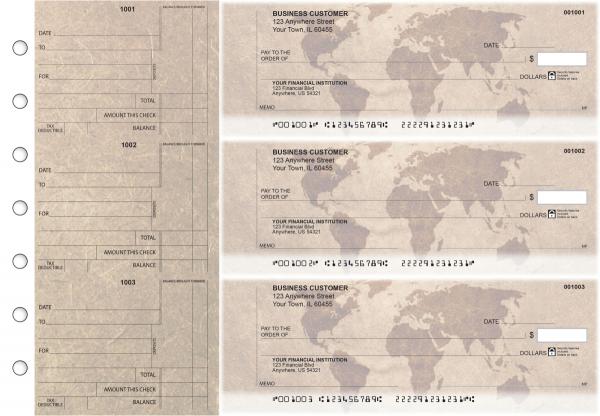 World Map Standard Counter Signature Business Checks