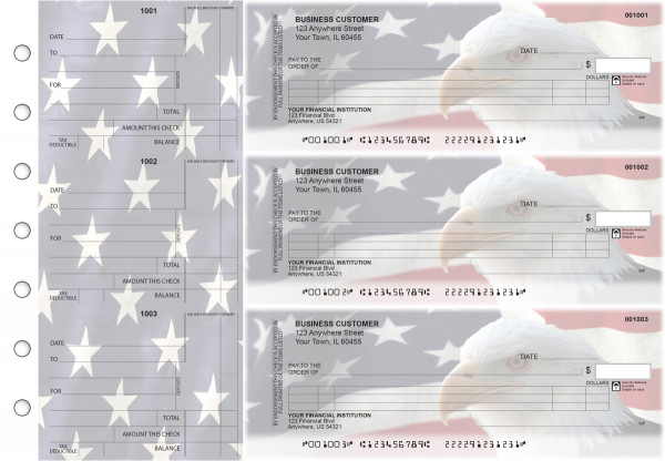 American Flag Itemized Counter Signature Business Checks | BU3-CDS32-ICS