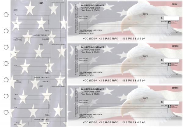 American Flag Itemized Counter Signature Business Checks
