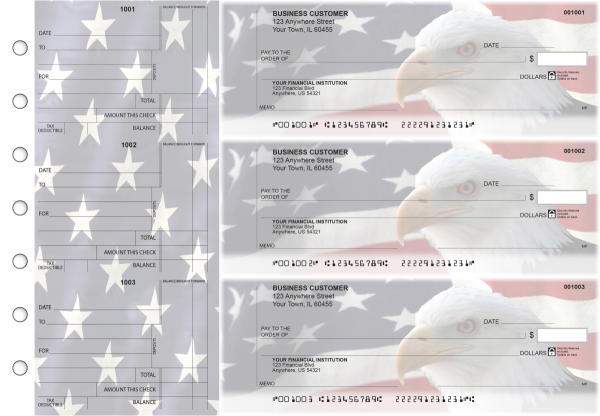 American Flag Standard Counter Signature Business Checks