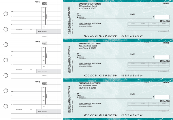 Teal Marble Invoice Business Checks