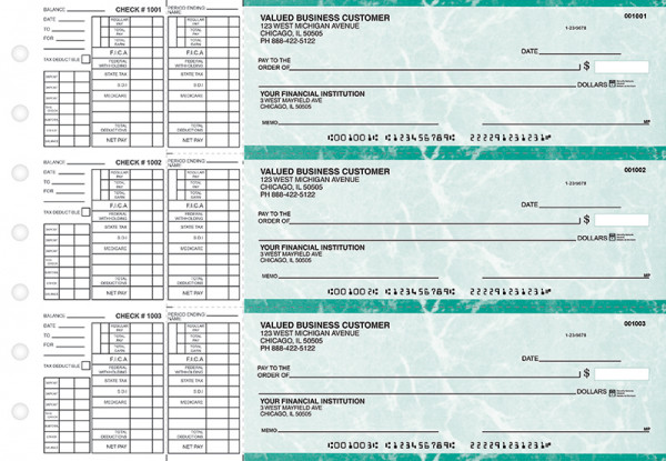Teal Marble Payroll Business Checks | BU3-EMA01-PAY