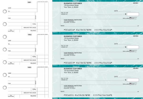Teal Marble Standard Counter Signature Business Checks