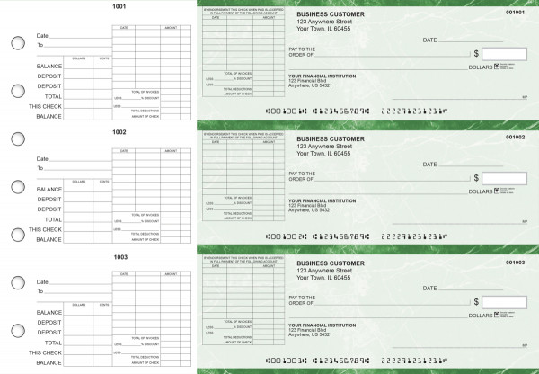 Green Marble General Itemized Invoice Business Checks | BU3-GMA01-GII