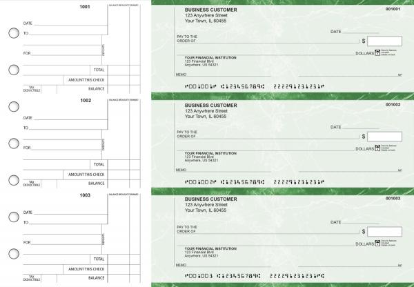 Green Marble Standard Counter Signature Business Checks