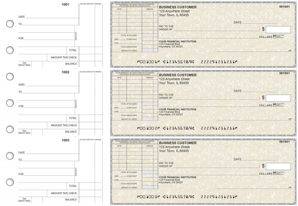 Tan Parchment Standard Itemized Invoice Business Checks | BU3-TPM01-SII