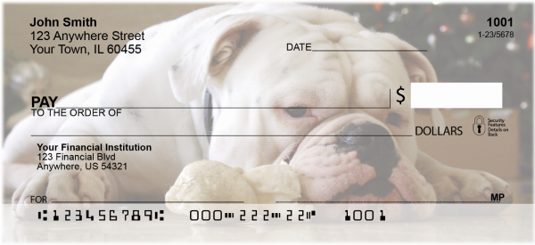 Cute English Bulldog Personal Checks | DOG-50