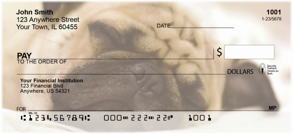 Sleepy Pugs Personal Checks | DOG-86
