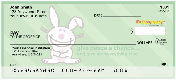 It's Happy Bunny Peace Personal Checks | IHB-08