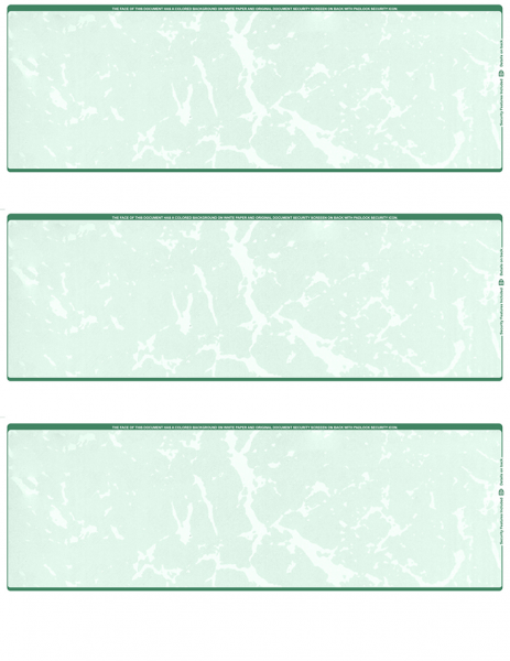 Green Marble Blank 3 Per Page Laser Checks | L3C-BLA-GM