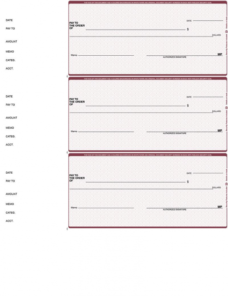 Burgundy Safety 3 Per Page Wallet Checks | L3P-US