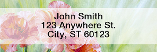 Poppy Oil Painting Rectangle Address Labels