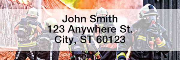 Firefighters in Action Rectangle Address Labels | LRPRO-52
