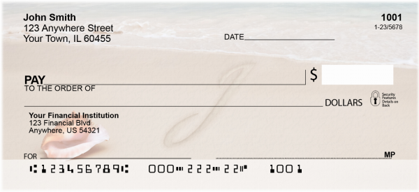 Sand Written Monogram J Personal Checks | MONO-07J