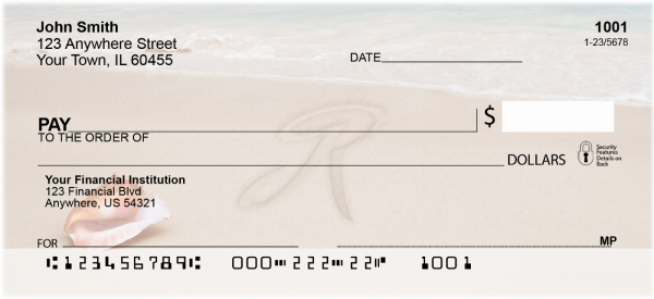 Sand Written Monogram 'R' Personal Checks | MONO-07R