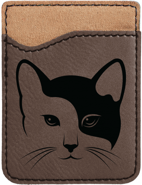 Yin Yang Kitty Engraved Leather Phone Wallet | PLE-00004