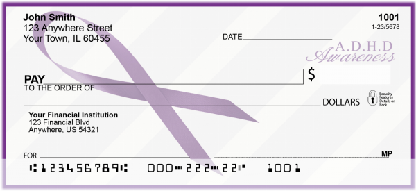 ADHD Awareness Ribbon Personal Checks | RIB-04