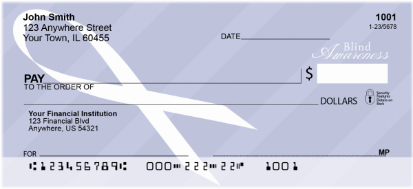 Blindness Awareness Ribbon Personal Checks