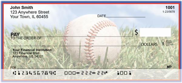 Blue & Red Baseball Team Personal Checks | SPT-15