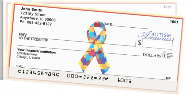 Autism Awareness Ribbon Side Tear Personal Checks | STRIB-07