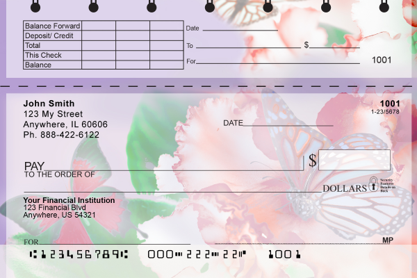 Spring Time Butterflies Top Stub Checks | TSNAT-80